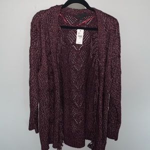 Burgundy Open Front Cardigan
